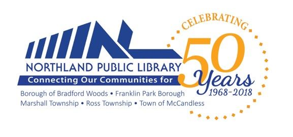 Library Celebrating 50th Years Logo With List of Communities